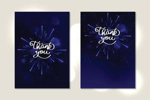 Greeting card thank you handwriting with night sky and fireworks vector
