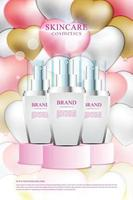 Cosmetic promotion poster display stand with cute background and heart shaped balloons vector