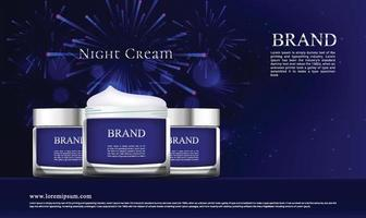 Night skin cream jar advertisement on fireworks background
