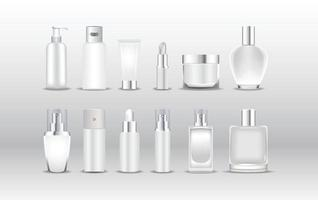 varios tipos de maquetas de envases cosméticos blancos vector