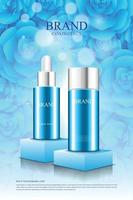 Cosmetic product poster on podium with beautiful blue rose background vector