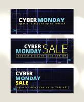 Blue banner cyber monday sale vector design template