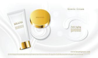 Tubos y frascos para el cuidado de la piel colocados sobre una hermosa textura crema con un fondo blanco. vector