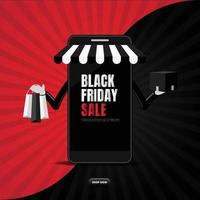 Black friday online sale with smartphone shopping vector