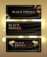 Luxury banner black friday on silk with gold frame vector
