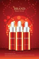 Red background for anti wrinkle cosmetics poster with 3d packaging illustration vector