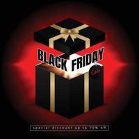 Banner de viernes negro con caja de regalo abierta con luz intermitente vector