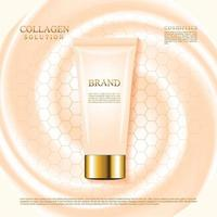Nude color skin care cosmetic cream tube with pattern vector illustration