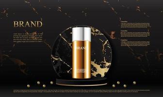 Elegant black marble pedestal for displaying cosmetic products mockup 3d illustration vector