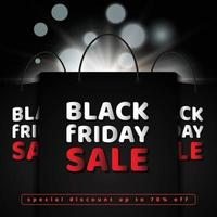 Black friday sale with shopping bag and lighting effect vector