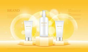 Hexagon pedestal yellow show cosmetics products with 3d packaging vector