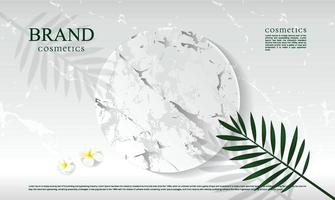 White marble podium background for displaying cosmetic products with leaves and shadows vector