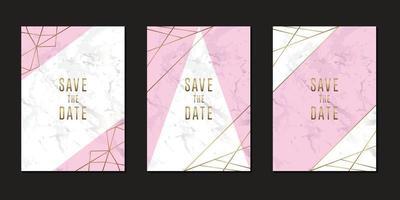 Minimalist wedding invitation card with marble and geometric line illustration vector