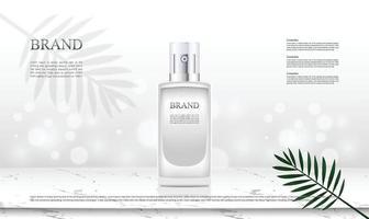 Productos cosméticos de fondo con ilustración de mármol y hoja en la mesa superior vector