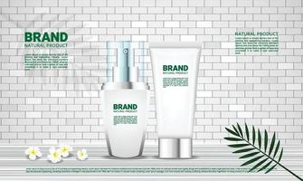 Background for cosmetics products with brick wall and wood floor natural concept vector