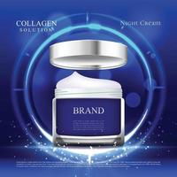 esta crema hidratante proporciona protección durante todo el día con fondo azul y luces vector