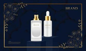 Luxury cosmetic product advertisement with packaging stand and Beautiful rose pattern frame vector