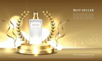 expositor cosmético ganador y más vendido con fondo dorado vector