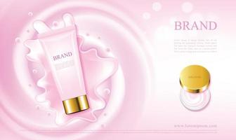 Pink skin care cream cosmetics with tubes and jars 3d illustration vector