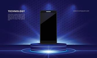 Science and Technology Product Show Stand with Blue Light Smartphone vector