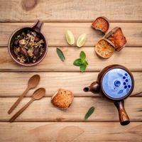 Herbal tea flat lay photo
