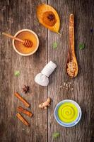 Vertical flat lay of herbal compress photo