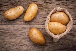 Top view of a sack of potatoes photo