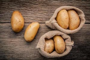 Flat lay of potatoes photo