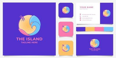 Colorful Island with Coconut Tree, Wave, and Sun Emblem Logo with Business Card Template vector