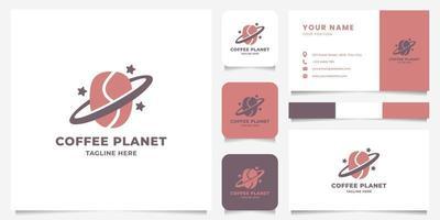 logotipo del planeta del grano de café con plantilla de tarjeta de visita vector