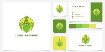 Colorful Peeled Corn Emblem Logo with Business Card Template vector
