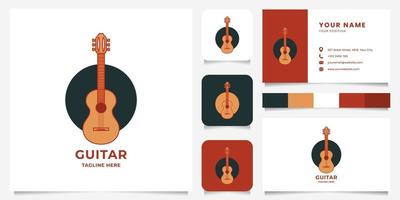 Colorful Classic Guitar on Circle Logo with Business Card Template vector