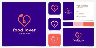 Cuchara y tenedor simples y minimalistas forman un logotipo de corazón con plantilla de tarjeta de visita vector