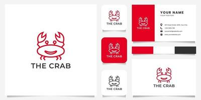 Logotipo de cangrejo de sonrisa de arte de línea simple y minimalista con plantilla de tarjeta de visita