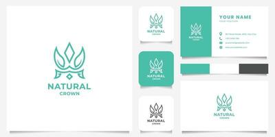 Simple and Minimalist Leaf on Crown Logo with Business Card Template vector