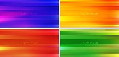 Conjunto de fondo de movimiento borroso de color degradado amarillo, azul, rojo, verde y naranja abstracto vector