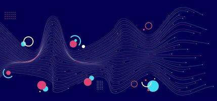 Líneas abstractas de onda azul y rosa con geométricas sobre fondo azul oscuro vector