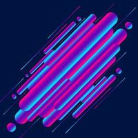 Abstract modern style 3d vibrant color rounded diagonal lines shapes on blue background. vector