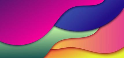 Abstract dynamic 3D gradient color wave shape background vector