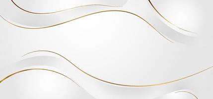Fondo abstracto de ondas dinámicas blancas y grises con estilo de lujo de curva de línea dorada. vector