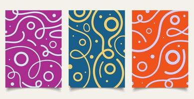 Set of cover brochure template wavy bold line pattern with circle on colorful background minimal design. vector