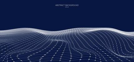 Abstract 3D white wireframe landscape on blue background vector