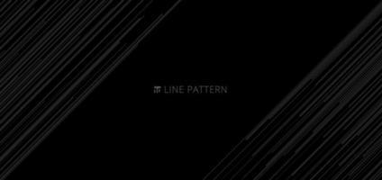 Banner plantilla web patrón de líneas de velocidad diagonal gris claro abstracto sobre fondo negro y textura vector