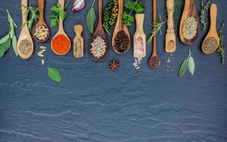 Spices and herbs with copy space photo