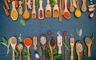 Spoons of spices and herbs photo