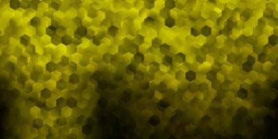 Dark green, yellow vector layout with shapes of hexagons.