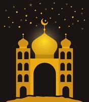Templo de oro de eid mubarak con diseño de vector de luna y estrellas