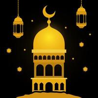 templo de oro de eid mubarak con linternas colgantes de luna y diseño vectorial de estrellas vector