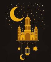 Eid mubarak gold temple with moon hanger lantern and stars vector design
