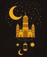 templo de oro de eid mubarak con diseño de vector de estrellas y linterna colgante de luna